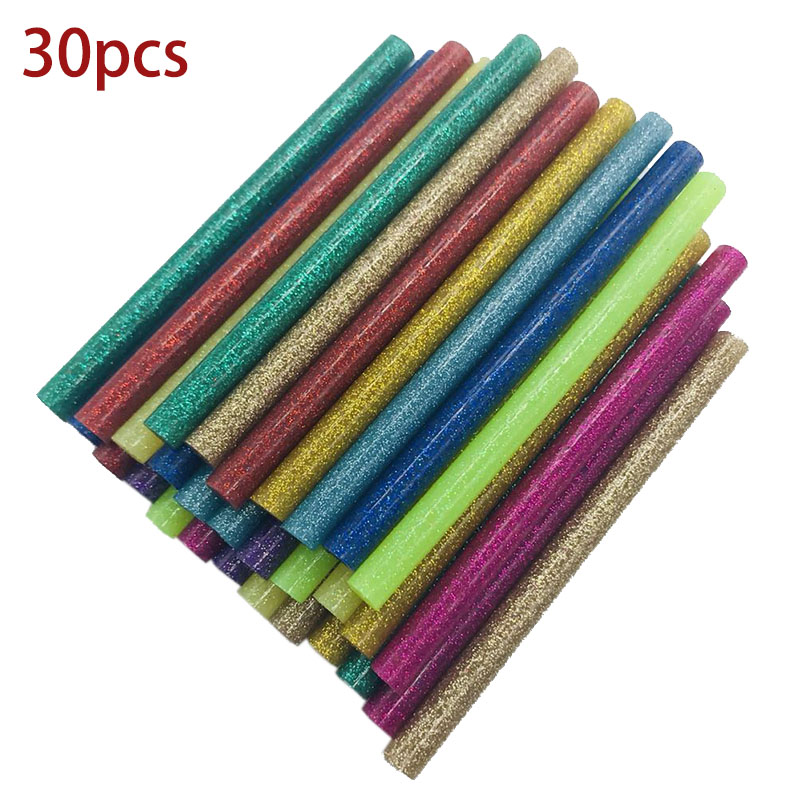 30Pcs/set Colored Hot Melt Glue Sticks 7mm Adhesive Assorted Glitter Glue Sticks Professional For Electric Glue Gun Craft Repair 10pcs 7x100mm hot melt glue sticks for 7mm electric glue gun craft diy hand repair tool adhesive sealing wax stick pink