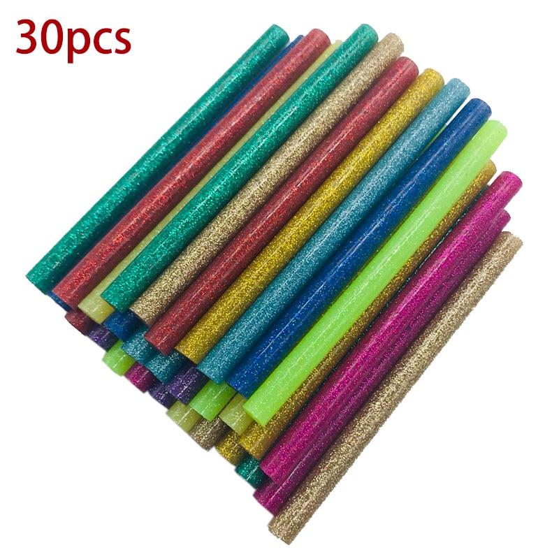 30Pcs/set Colored Hot Melt Glue Sticks 7mm Adhesive Assorted Glitter Glue Sticks Professional For Electric Glue Gun Craft Repair
