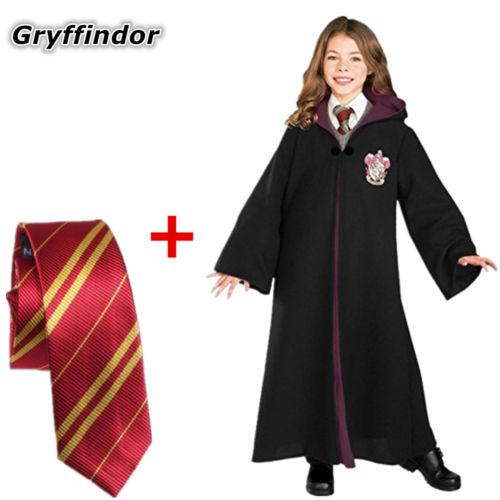 Disfraz de Halloween Hermione Granger Gryffindor bata Harri Potter capa con corbata disfraz para niño