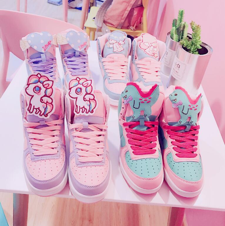 Kawaii Harajuku Lolita Women's HEART Little Twin Star Sneakers