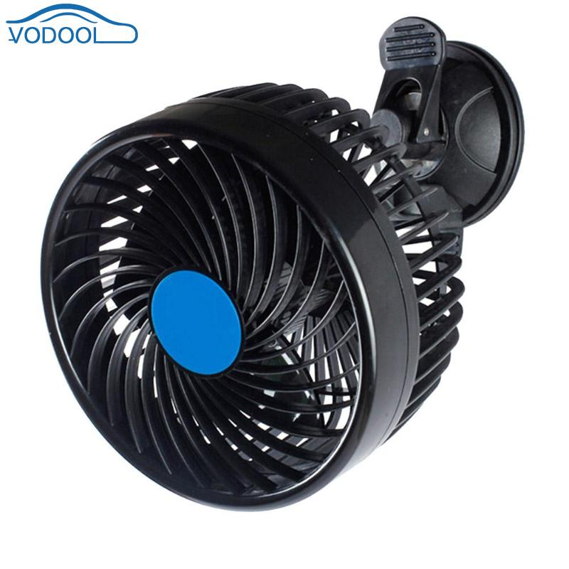 VODOOL Portable 12V Mini Electric Car Fan Suction Cup Auto Air Fan Car Air Conditioner 360 Degree Rotating Strong Wind Cooler