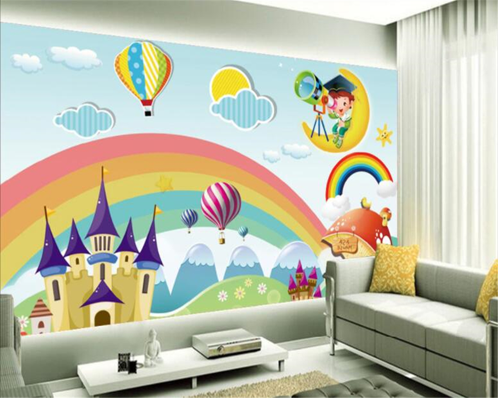 Us 8 7 42 Off Beibehang Custom Wallpaper Kids Room Mural Rainbow Castle Cartoon Backdrop Kids Room Mural Wallpaper For Walls Papel De Parede In