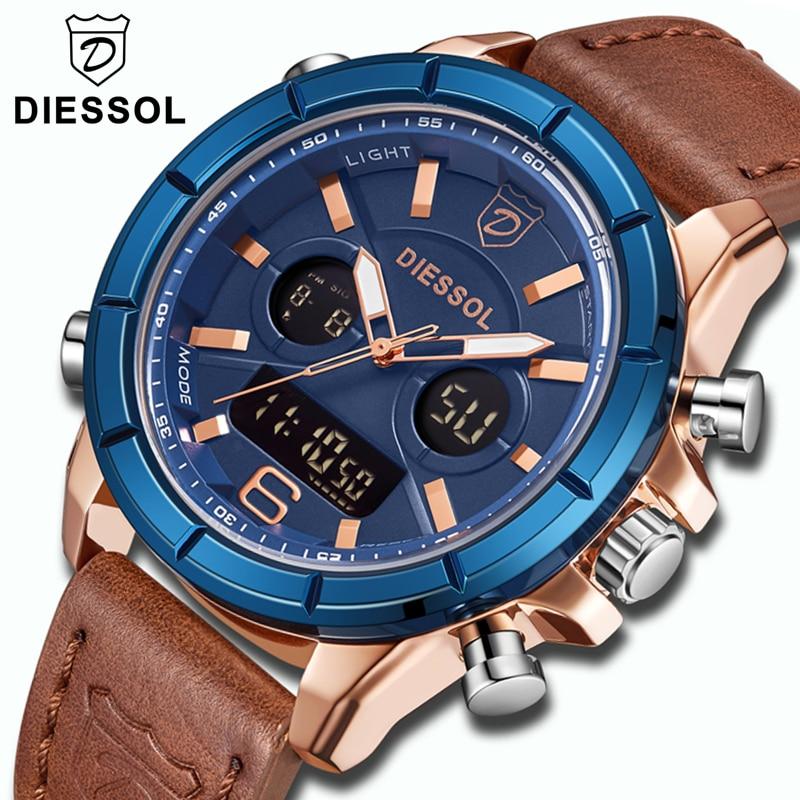 DIESSOL Watch Men Fashion Sports Quartz Clock Mens Watches Top Brand Luxury Waterproof Leather Digital Watch Relogio Masculino-in Quartz Watches from Watches    1