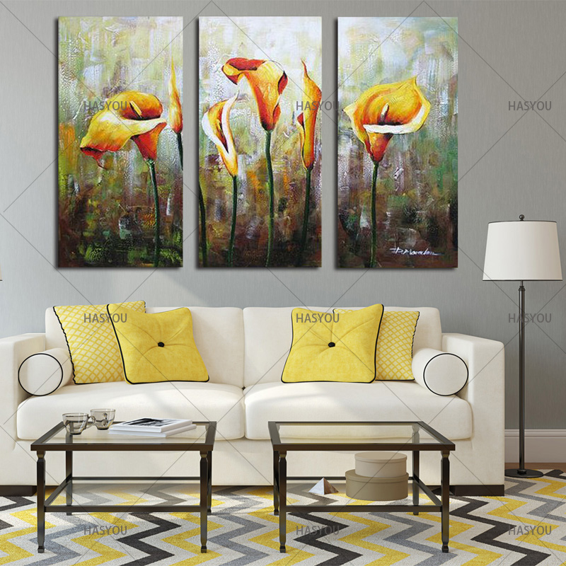Hand-Painted-3pcs-Modular-Calla-Lily-Flower-Picture-Oil-Painting-On-Canvas-Wall-Art-Gift-Living (3)