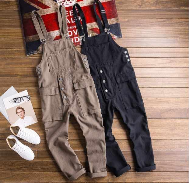 Mens Black Khaki Jumpsuit Pants Casual Slim Fit Men Cotton Bib Overalls Joggers Pants Summer Man Strap Trouser Plus Size 4XL