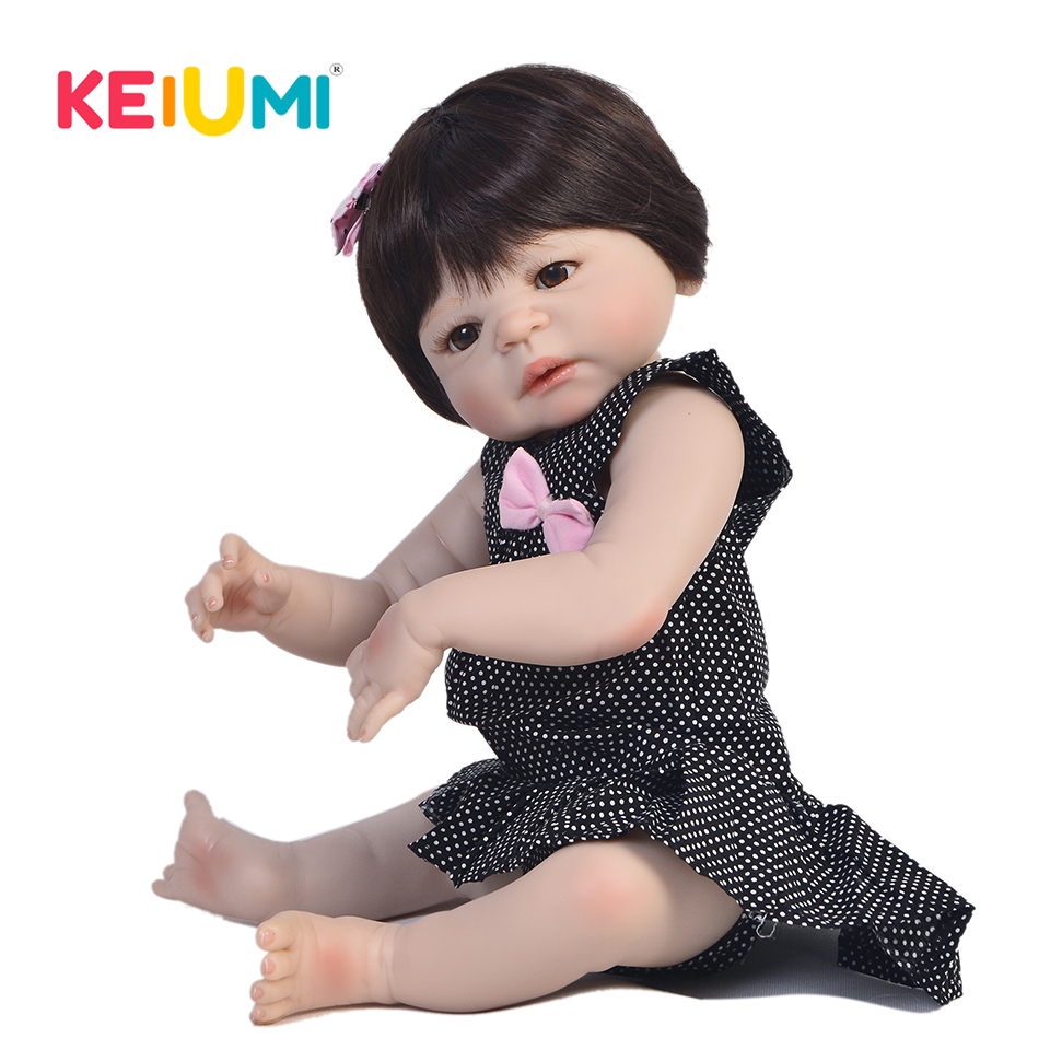 Real 57 cm Full Body Silicone Reborn Babies Girl Doll DIY Toy Lifelike Newborn Princess Baby Doll For Kids KEIUMI Doll Reborn real like 57 cm sleeping boneca reborn lifelike full body silicone vinyl reborn dolls babies princess baby doll toy for gifts
