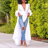 Summer Sexy Club Elegant White Plus Size African Blouse Women Casual Slim Plain Simple 2019 Chic Female Fashion Tops Shirts
