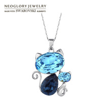 Neoglory MADE WITH SWAROVSKI ELEMENTS Crystal Pendant Necklace Cute Cat Design Fashion Jewelry For Women New