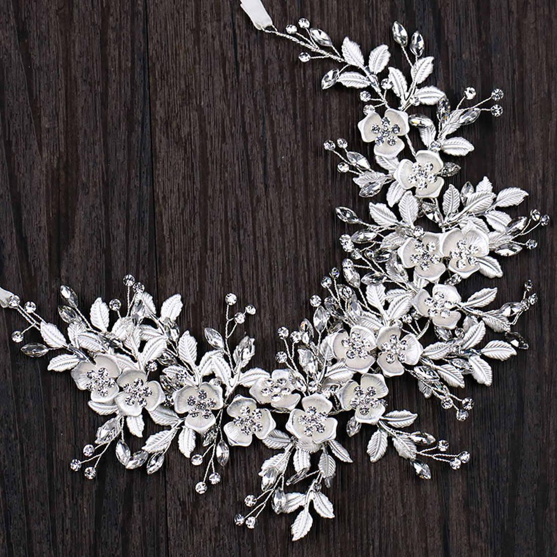 Diadema hecha a mano joyería para el pelo de la novia 1 piezas de plata Floral nupcial Tiara accesorios para el cabello de la boda