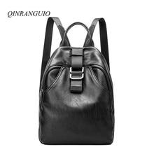 Qinranguio Рюкзаки для девочек-подростков 2017 модные женские туфли рюкзак Школьные ранцы для подростков Высокое качество кожаный рюкзак