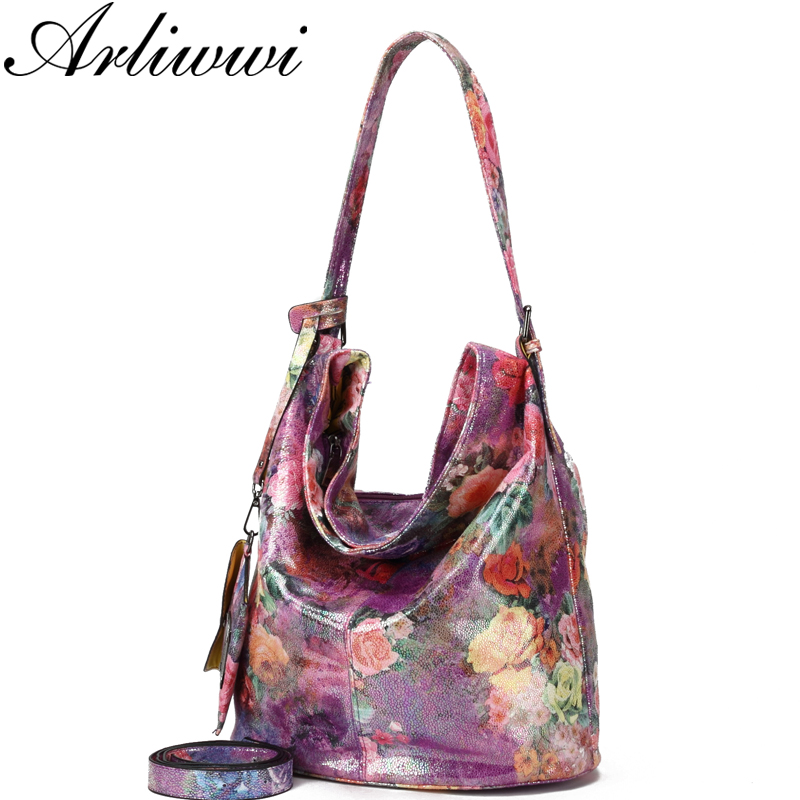 Arliwwi Brand Luxury Floral Designer Lady Purses and Handbags High quality Hobos PU Leather Soft Embossed shiny Flower Bags