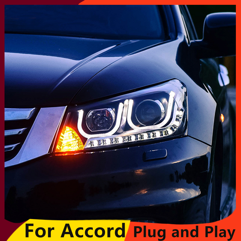 KOWELL car Styling Head lamp for Honda Accord 2008 2013 LED Headlight DRL H7 D2H HID
