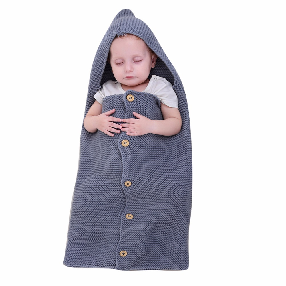Nosii 15 x 28 Baby Kid Soft Knit Wrap Swaddle Hooded Button Crib Warm Sleeping Blanket