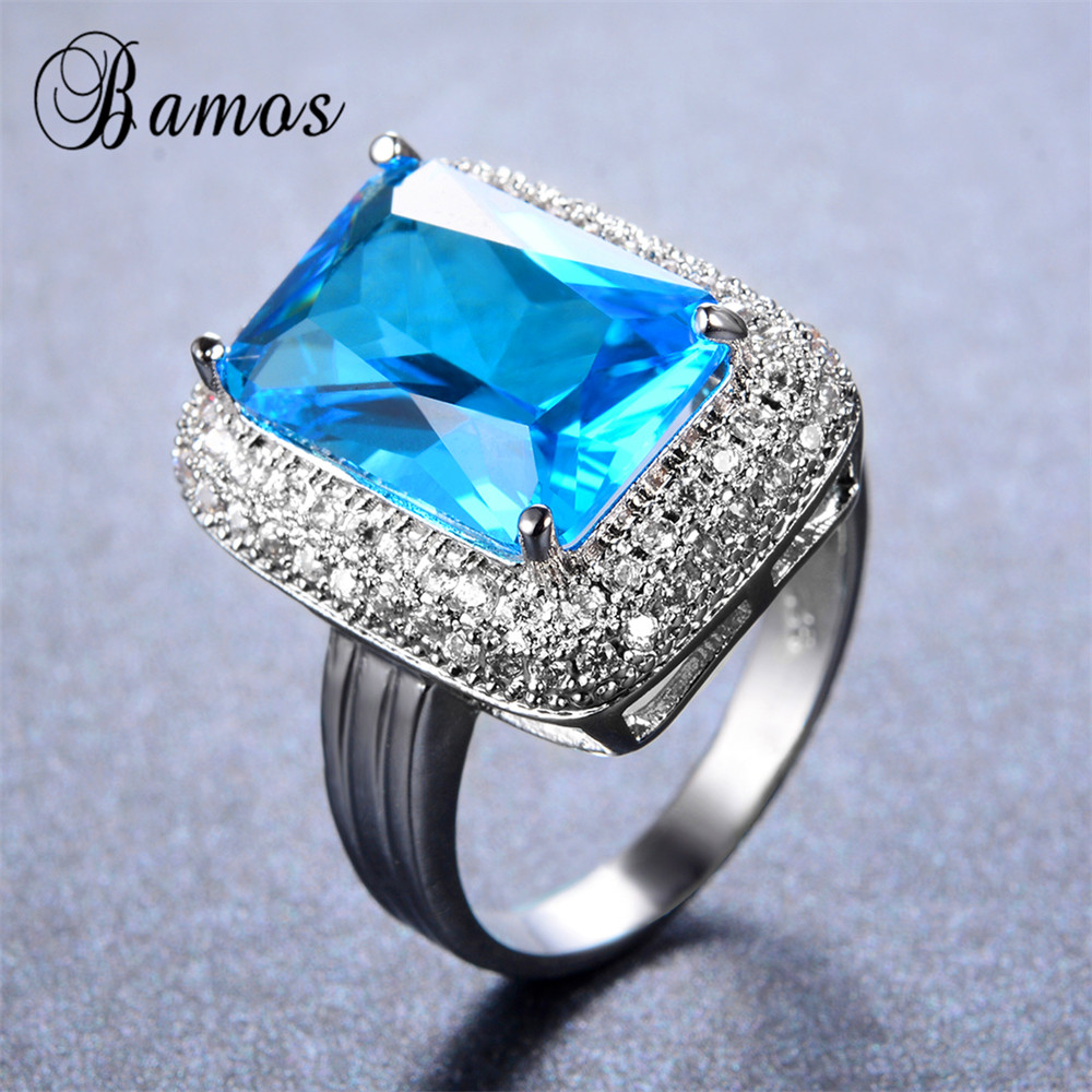 Bamos Female Big Light Blue Ring Bohemian Fashion Gold Filled Jewelry  Vintage Wedding Party Rings For