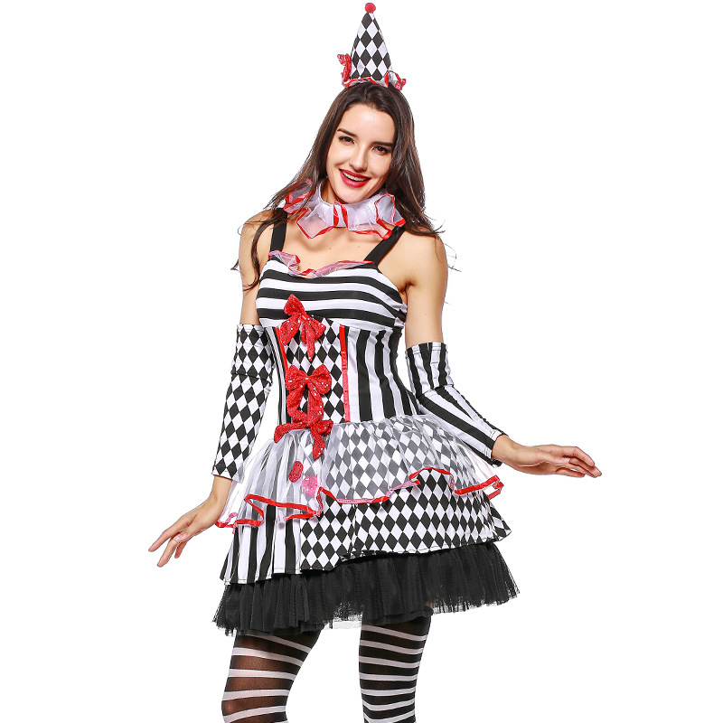 Umorden Stripes Sexy Harley Quinn Harlequin Cinched Clown Costume for Women Adult Halloween Party Carnival Fancy Dress