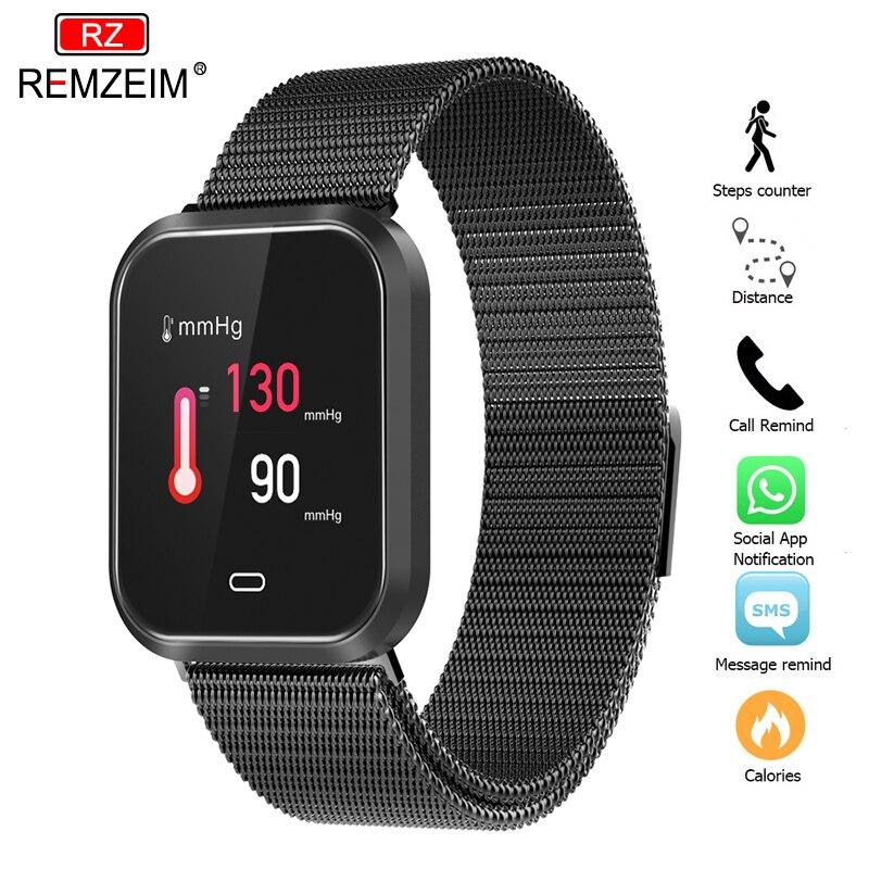 REMZEIM 1.3 pouces montre intelligente montre à assembler soi-même visages étanche IP67 surveillance de la pression artérielle bracelet en métal Multi Modes Sport SmartWatch