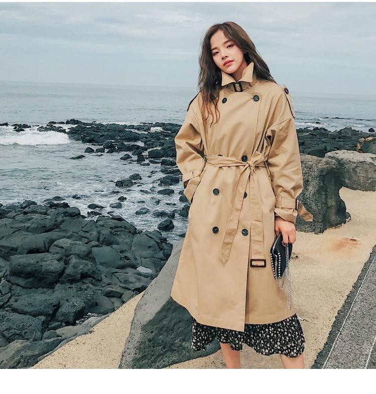 HTB1VNjvLSzqK1RjSZFjq6zlCFXaF Fashion Brand New Women Trench Coat Long Double-Breasted Belt Blue Khaki Lady Clothes Autumn Spring Outerwear Oversize Quality