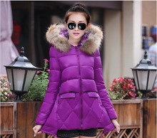 New Style Fashion Women Winter Down jacket Big yards Fur collar Hooded Slim Cotton Coat Thick Super Warm Medium long Coat G2133