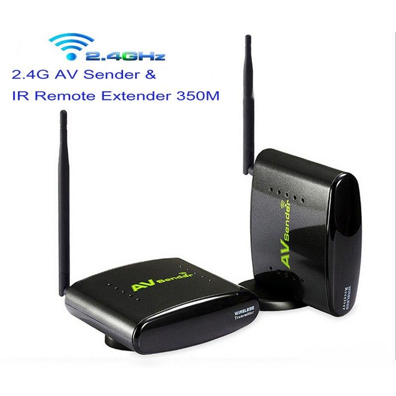 New 350M Wireless 2.4G AV Sender & IR Remote Extender AV Transmitter Support 6 channels with power adapter цена и фото