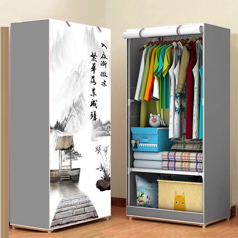 3D Pattern Wardrobe Non-woven Folding Cloth Wardrobe Reinforcement Combination Small Closet Assembly Clothes Storage Cabinet