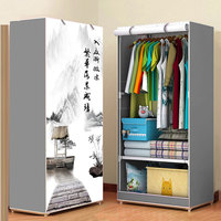 3D Pattern Wardrobe Non woven Folding Cloth Wardrobe Reinforcement Combination Small Closet Assembly Clothes Storage Cabinet