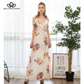 Bella Philosophy 2017 spring summer spaghetti strap printing bohemian black white beige blue long maxi dress S-L