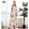 Bella philosophy 2017 primavera correa de espagueti del verano de impresión bohemia negro blanco beige azul largo maxi dress sl