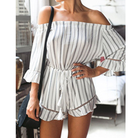 Lacontrie Apparel Sexy Off Shoulder Striped Print Elegant Jumpsuit Romper 2017 Summer Style Beach Short Playsuit
