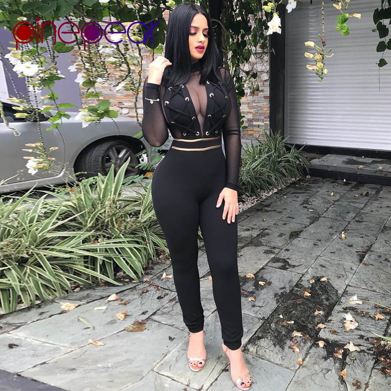 1fa70d2426ce PinePear Sexy Mesh Jumpsuit Women 2019 Winter Long Sleeve Lace Up See  Through Nightclub Bandage Bodycon