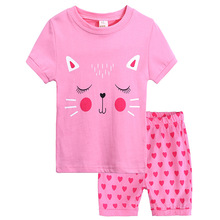 New childrens clothings cotton cartoon cat home service girls&boys clothing summer suit pajamas set