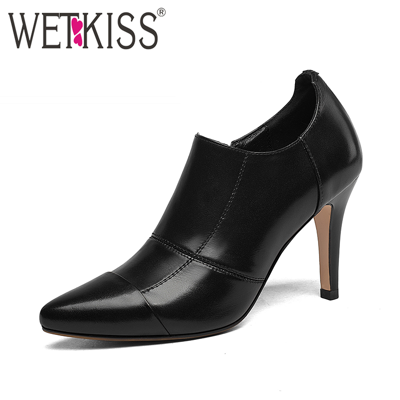 где купить WETKISS Genuine Leather Office Ladies Shoes High Heels Side Zip Pointed toe Women Pumps High Quality Autumn Footwear Female Shoe по лучшей цене