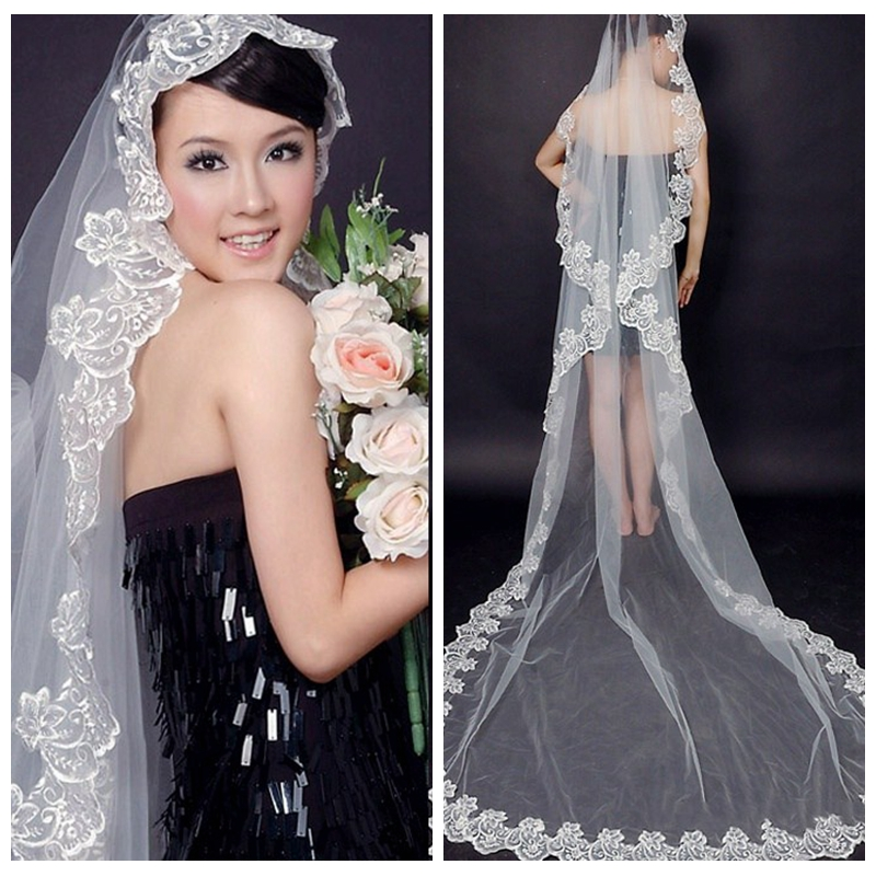 Long Wedding Hairstyles With Veil: 5m Cathedral Bridal Veil Lace Appliques One Layer Long