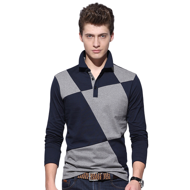 Fashion Men Polo Shirt Patchwork Hit Color Mens Polo Shirt Brands Casual Slim Fit Turn Down Collar Button Cotton Polo Homme