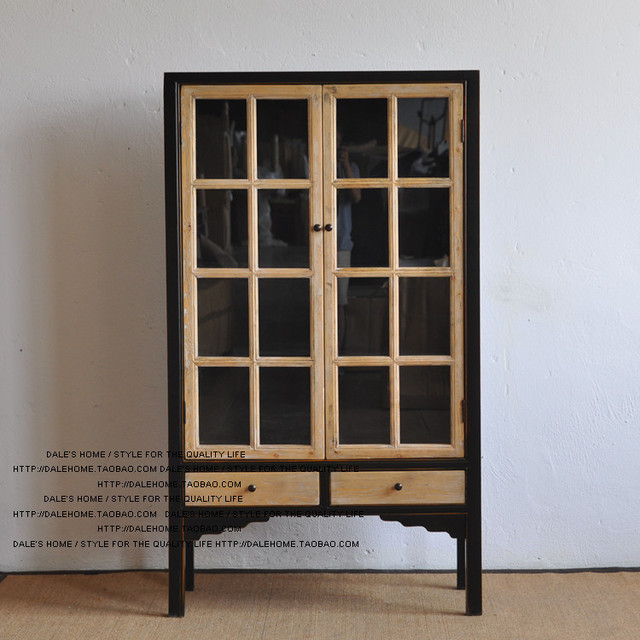 French country antique furniture / glass mosaic color two bookcase /  wardrobe / Showcase - French Country Antique Furniture / Glass Mosaic Color Two Bookcase