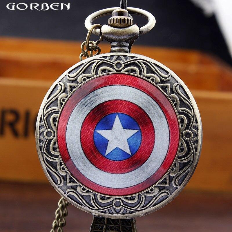 New Bronze Quartz Pocket Watches Captain America Icon Men Watches Antique Pocket Watch Chain Necklace For Men Women Best Gifts