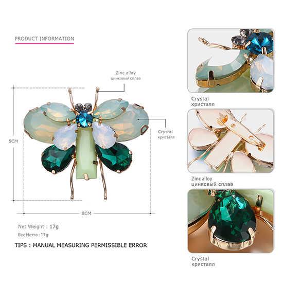 Animale sveglio & Insetto Farfalla Spille Spilli per le Donne di Cristallo 2 Colori Spilla Accessori di Abbigliamento Gioelleria raffinata e alla moda BR03032