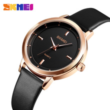 SKMEI Top Brand 1457 Fashion Women Watches Leather Female Quartz Wristwatches Ladies Waterproof Thin Casual Strap Watch Reloj цена