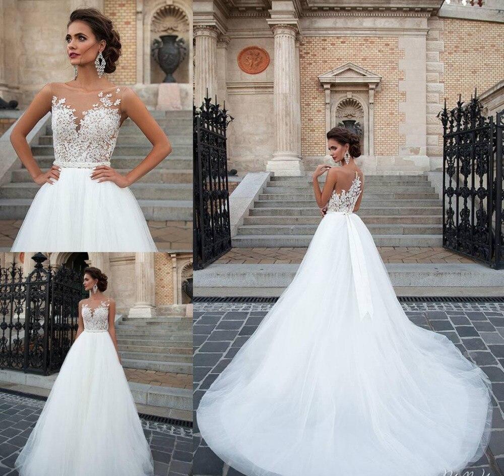 28eb6e9e04e61 2019 New Milla Nova Illusion Wedding Dresses Vintage Appliqued Jewel  Backless Bridal Gowns Soft Tulle Sweep