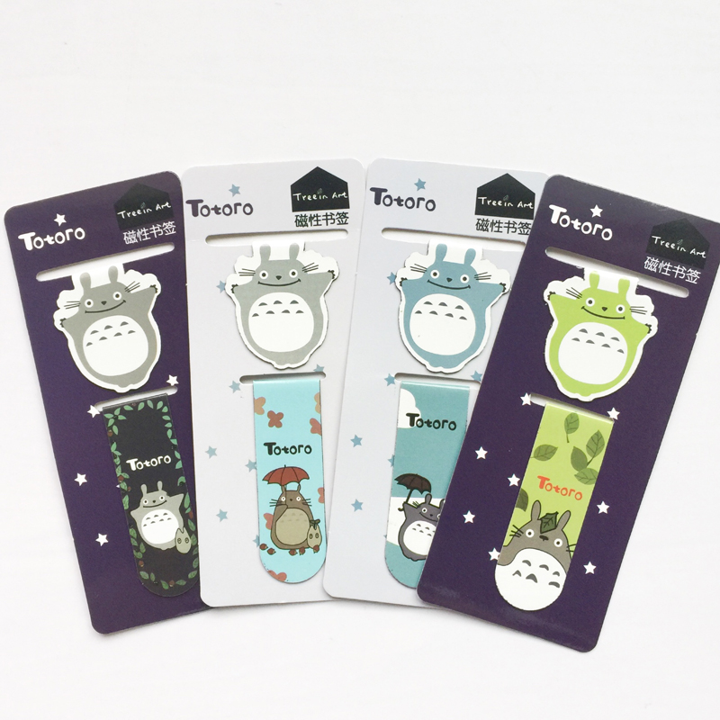 A43 2pcs /Set Kawaii Cute Totoro Magnetic Bookmarks Books Marker of Page Student Stationery School Office Supply Paper Clip effiel tower magnetic bookmark paris tower magnetic bookmarks for books magnetic clips page marker