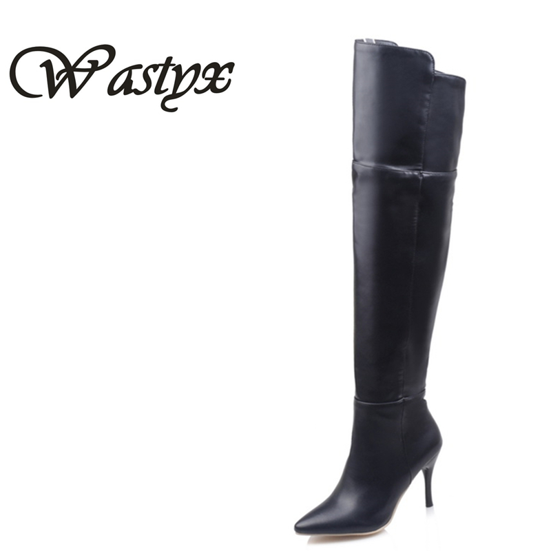 Wastyx new High thin heels over the knee boots shoes women sexy elegant simple pu pointed toe zip autumn new arrive size 34-45 gladiator shoes denim thigh high boots women boots 2017 winter shoes over the knee fashion pointed toe thin heels mixed colors