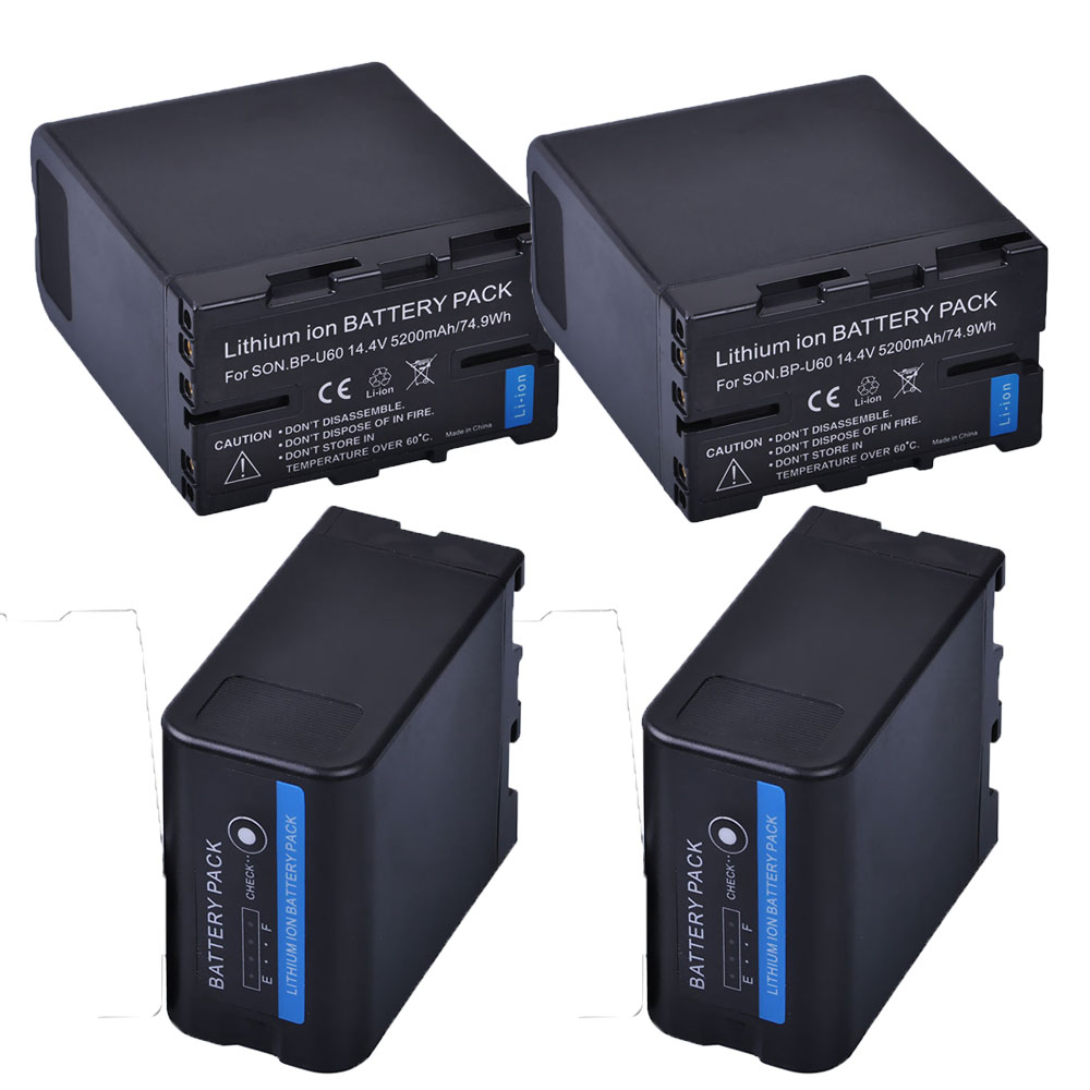 4 pc 5200 mah BP-U60 BP U60 BPU60 batterie Li-ion Rechargeable pour Sony XDCAM EX PMW100 PMW150 PMW160 PMW200