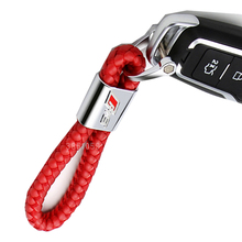 Fashion Leather Car Keychain Key Chains Rings Fob Fits for Audi Car Sline RS Logo Keyring