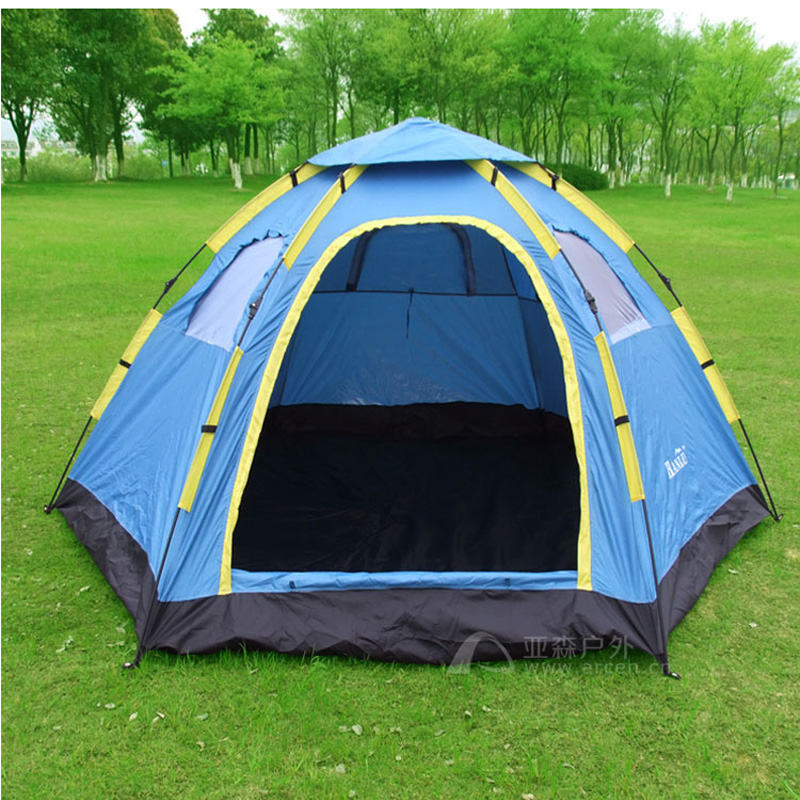 Fully-automatic outdoor camping tent tourism tents 6 - 8 hexagonal big tent/6-8persons large family automatic camping tent otomatik çadır
