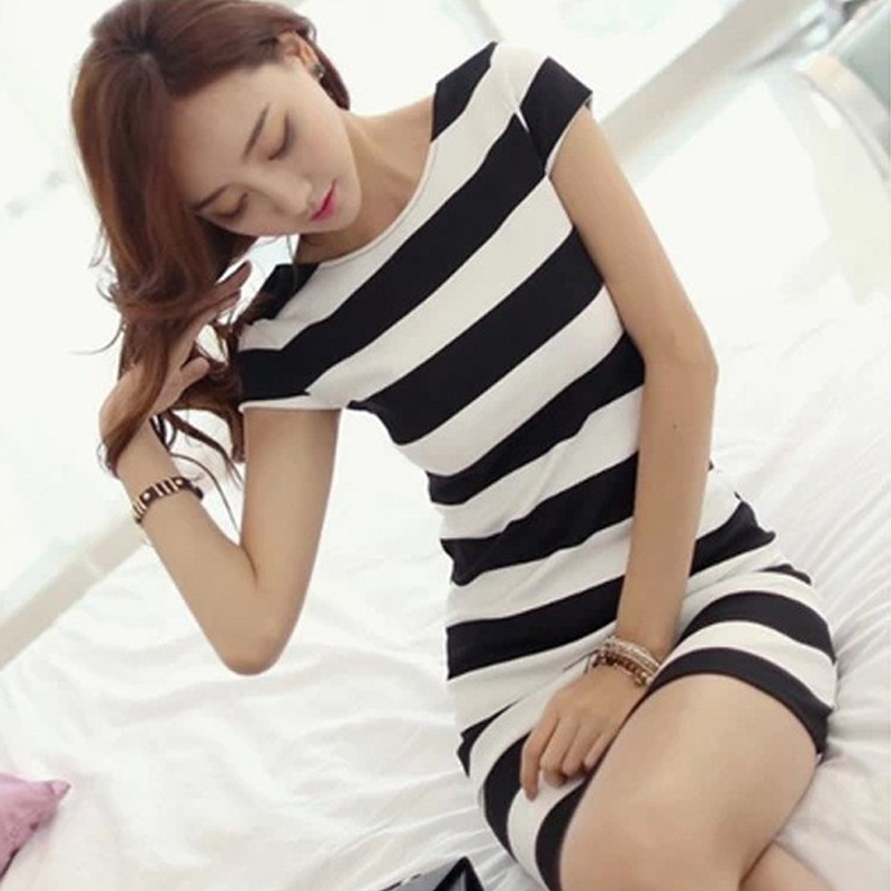 Plus Size Women K-pop Dress Korean Cut Out Tie Bow Backless Short Sleeve Striped Summer Dress