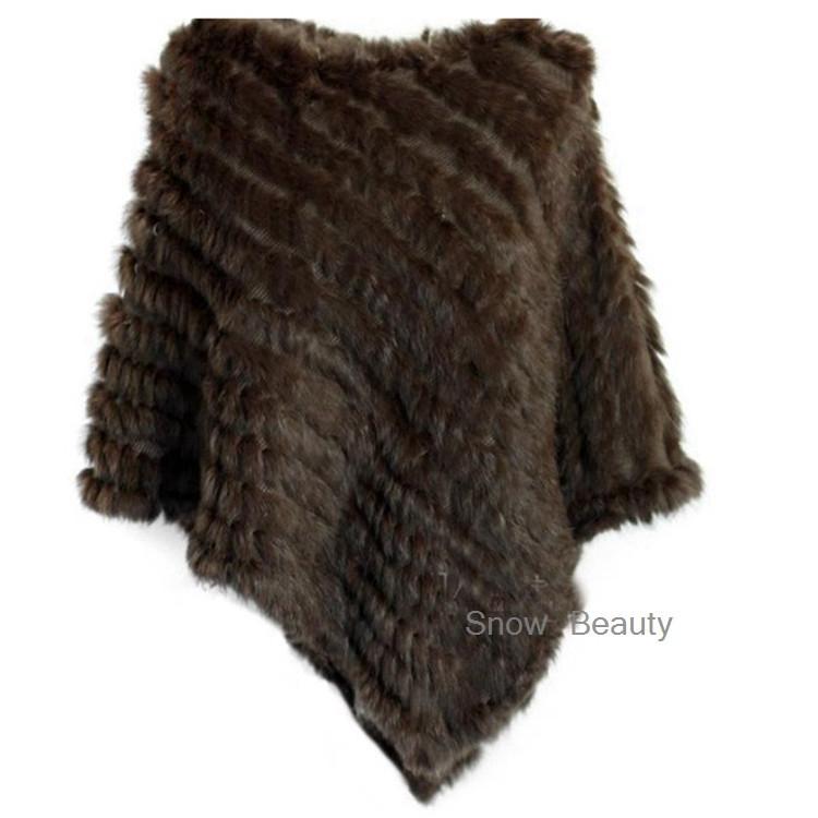 natural real knitted rabbit fur poncho shawl (17)
