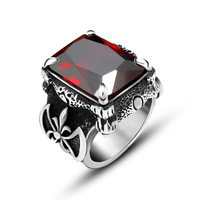 2016 New Arrival Mens Ring Fashion Silver Plated Ring For Men Retro Red Stone Inlaid Ring