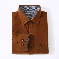 Dudalina 2017 New Arrivaly High Quality Corduroy Mens Shirts Long Sleeve Shirt Casual Plaid Mens Dress