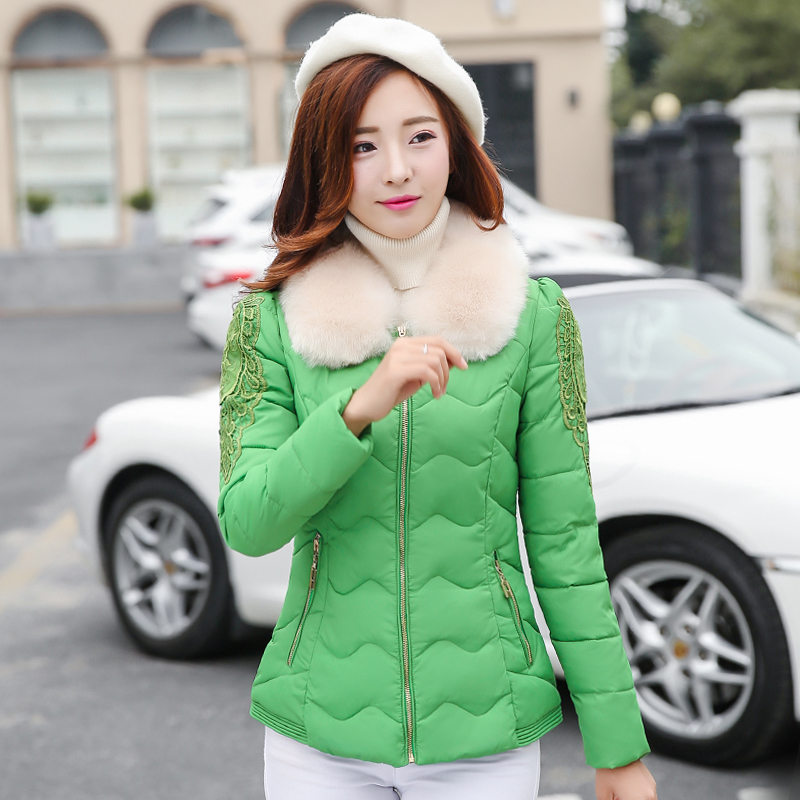 New 2016 Autumn and winter Down jacket round Fur Collar Embroidery womens Warm Jackets Coat Female Parka Europe Style #LX6029