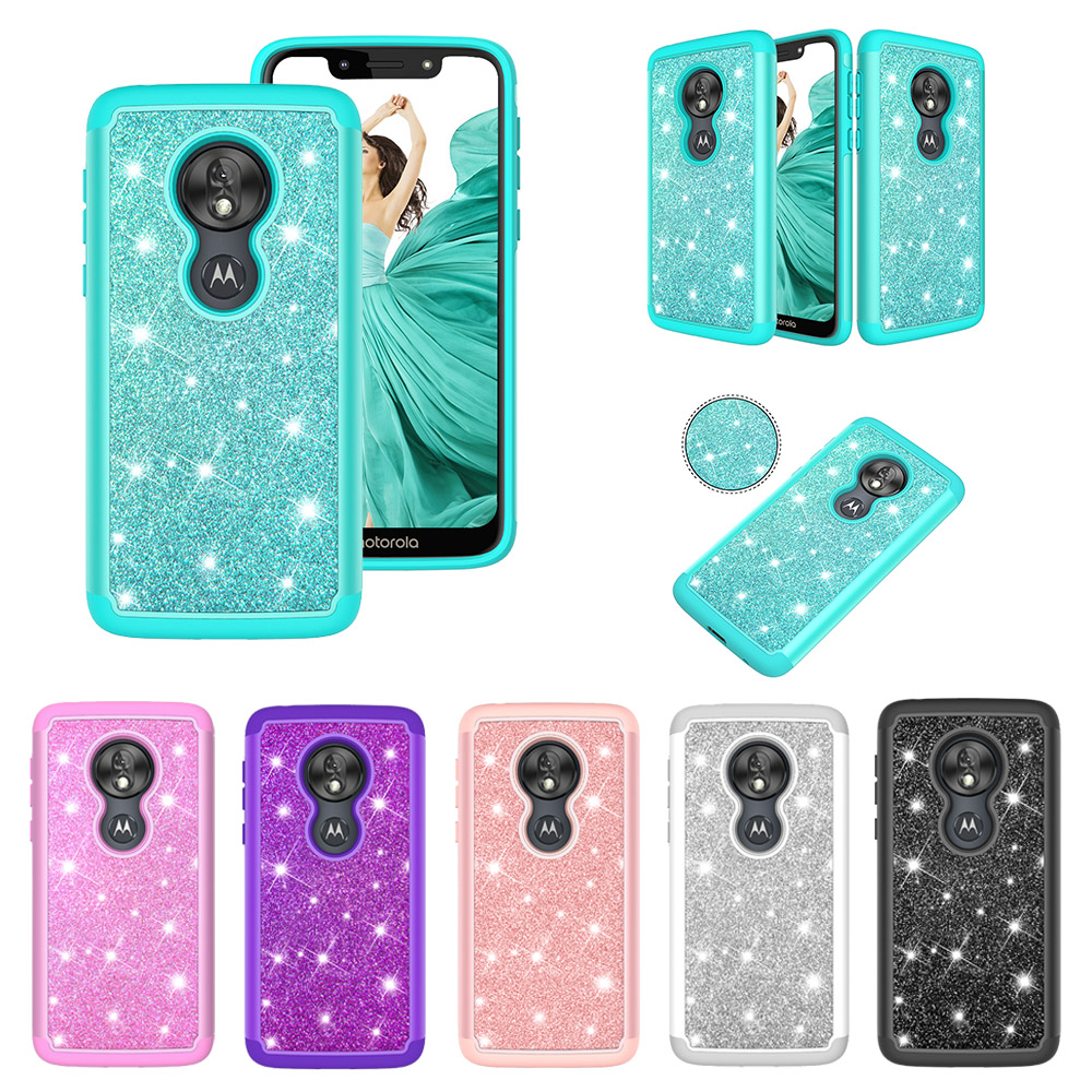 US version For Motorola Moto G7 Play G7 Power Glitter case For Moto G6 Play Dual Layer shockproof Cover Moto G7 Plus Carcasa