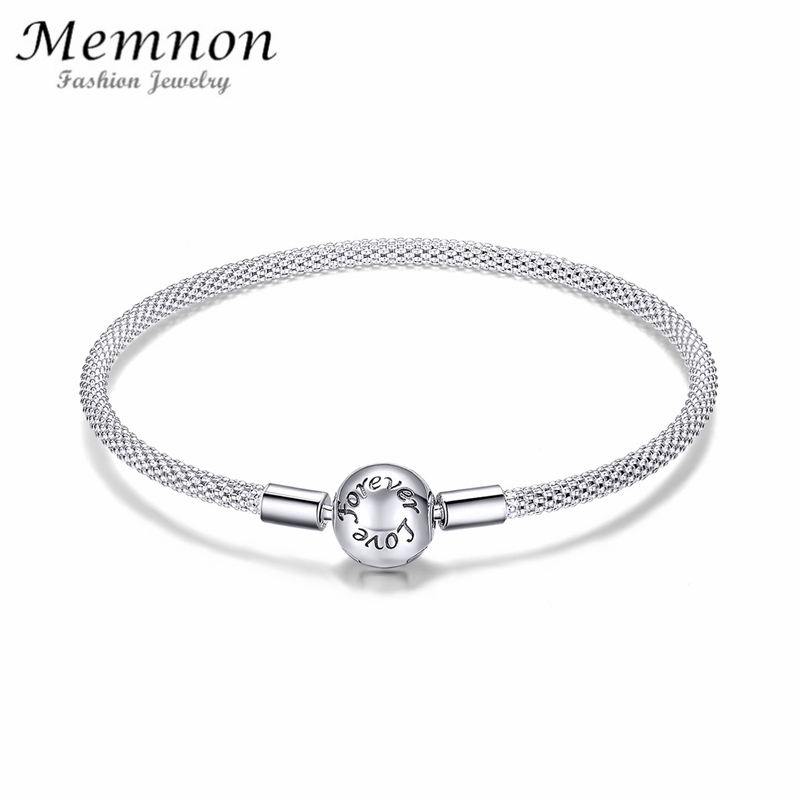 Memnon Classic 100% 925 Sterling Silver Love Forever Love Snake Chain Bracelets fit charms diy for Women Sterling Silver Jewelry 4 style 925 basic snake chain bracelets round flower love heart pink color buckle bracelets for women diy charms jewelry